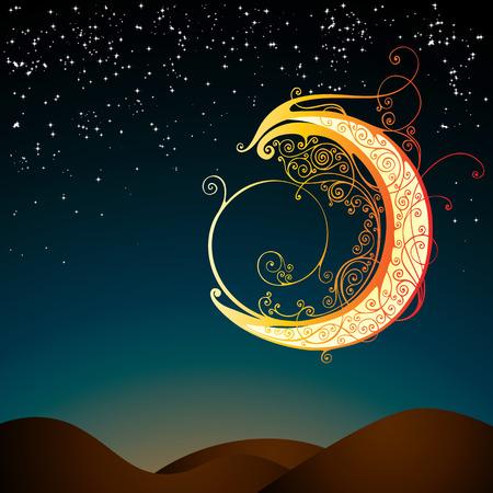 star in the sky: stylized moon ornamental In flower style Illustration
