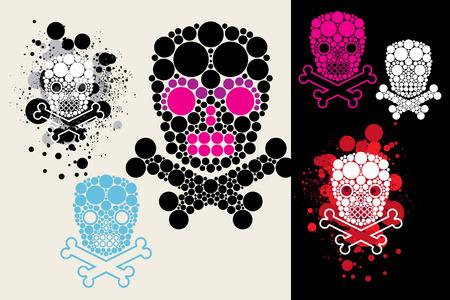 dead man: set from grunge vector skulls Illustration