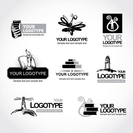 marca libros: Conjunto de vectores de marcas para su empresa o de un sitio, la Ciencia y la Cultura Vectores