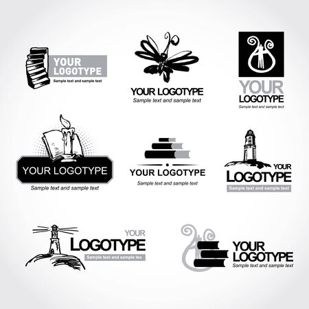 Set of vector logo for your company or a site, Science and culture Illustration