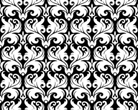 silhuette: Seamless background from a floral ornament, Fashionable modern wallpaper or textile