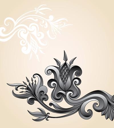 Vector ornament in folk floral style Vector