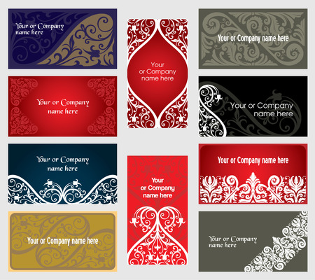 vector visiting-cards set in ornament style Illustration