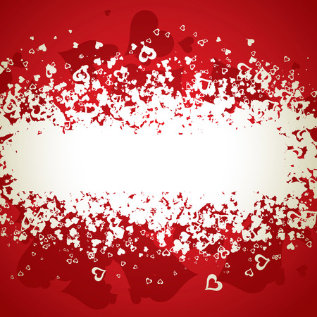 A lot of vector hearts confetti on color background Vector