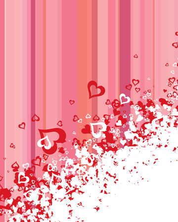 A lot of vector hearts confetti on color background