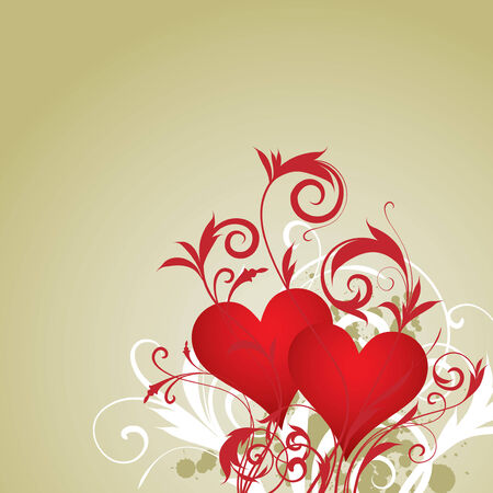 two hearts with floral ornament Vector
