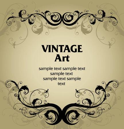 vector vintage template frame In flower style Illustration