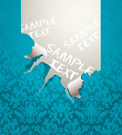 Vector ripped wallpaper with a baroque ornament Vector