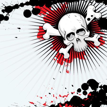 hooligan: Vector Grunge Skull mit Dornen