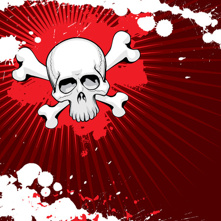 Vector grunge skull with thorns Vector