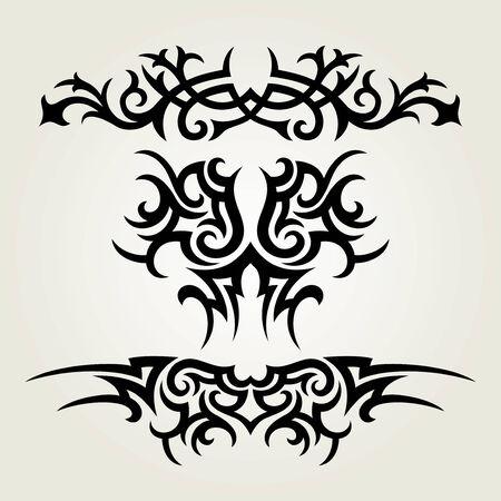 dessin tribal: En vecteur ornement de fleurs de style Illustration