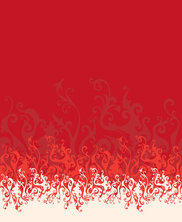 vector floral ornament In flame style (horizontal seamless) Vector