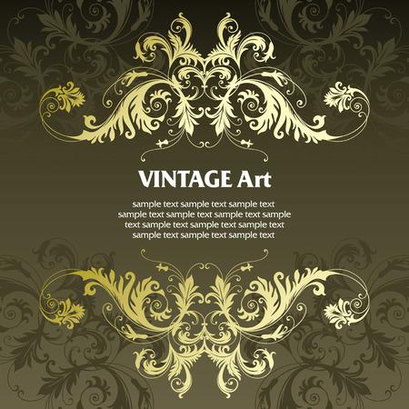 vector vintage: vector vintage template frame In flower style Illustration