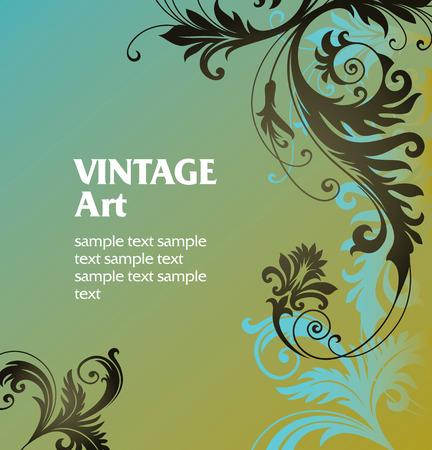 stile liberty: Vector ornamento In stile floreale Vettoriali