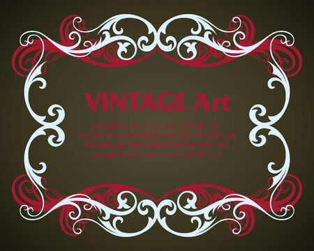 vector vintage template frame In flower style Vector