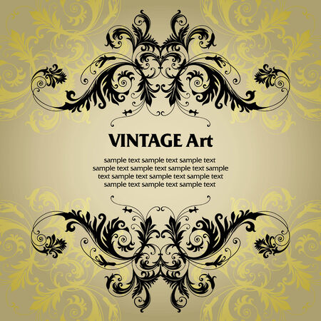 vector vintage template frame In flower style Illustration