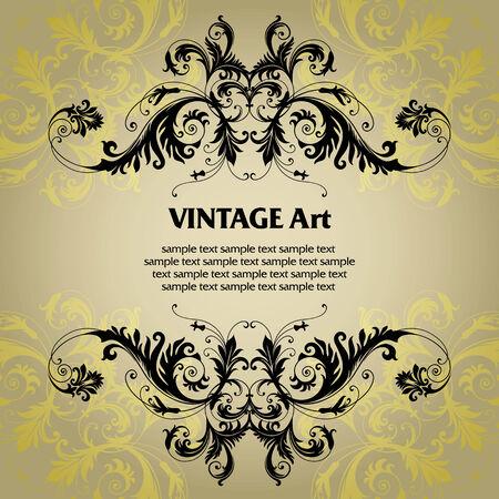 vignette: vector vintage template frame In flower style Illustration