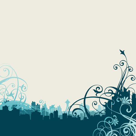 Abstract vector illustration with city Vector