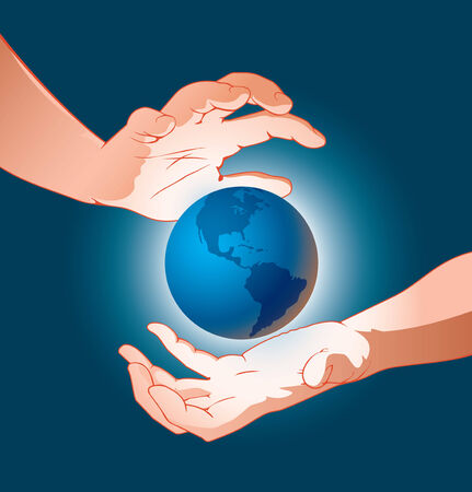 world in hands and global protection Vector