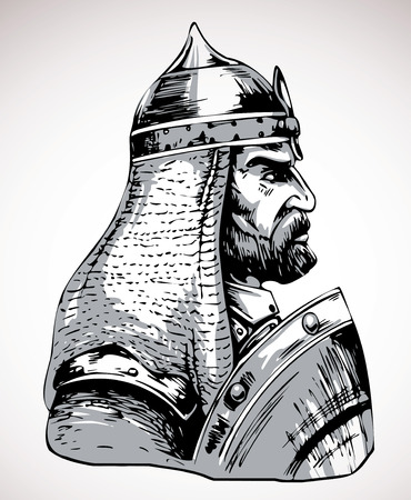 chain armour: vector image of medieval warrior