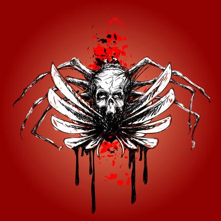 Vektor-Skizze - Totenkopf mit Flügeln und Blut