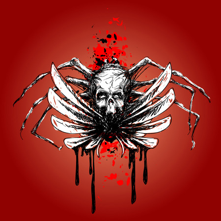 wektor szkic - czaszka ze skrzydłami i krew