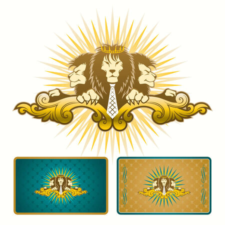vector heraldic image with lions Vector