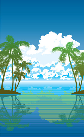 vector background with palms, sea and clouds