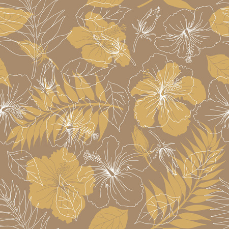 tropical flowers: Seamless background from a floral ornament, Fashionable modern wallpaper or textile