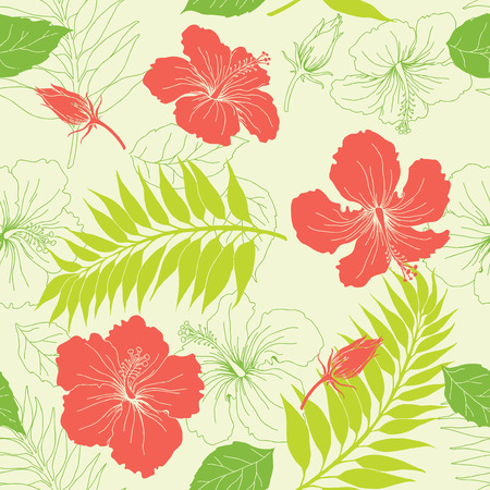 hawaii flower: Seamless background from a floral ornament, Fashionable modern wallpaper or textile