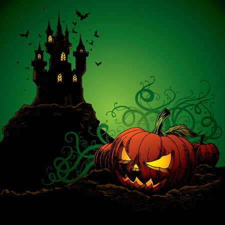 halloween invitation or background with castle, bats and pumpkin Stock Vector - 5581740