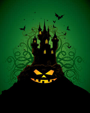 halloween invitation or background with castle, bats and pumpkin Stock Vector - 5581739