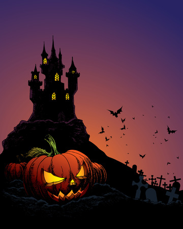 halloween invitation or background with castle, bats and pumpkin