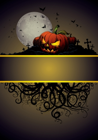 halloween invitation or background with castle, bats and pumpkin Vector