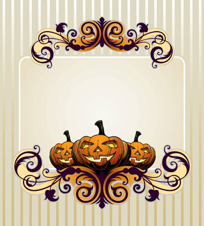 halloween invitation or background with pumpkin Vector