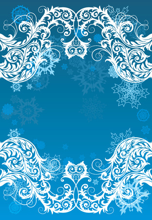 vector ornament In flower style with snowflakes Vector