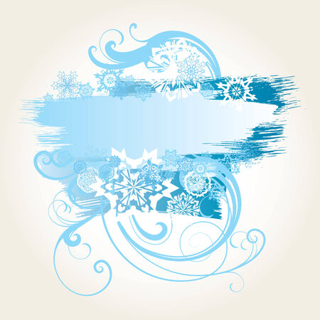 vector ornament In flower style with snowflakes Stock Vector - 6551149