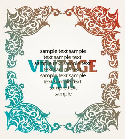 marco de plantilla vintage de vector en estilo de flor