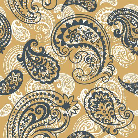 ペルシア: ペーズリーの飾り、おしゃれな現代壁紙または繊維からのシームレスな背景  イラスト・ベクター素材