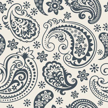 ペーズリーの飾り、おしゃれな現代壁紙または繊維からのシームレスな背景  イラスト・ベクター素材
