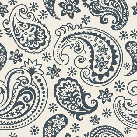 india pattern: Seamless background from a paisley ornament, Fashionable modern wallpaper or textile Illustration
