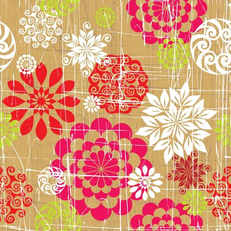 Seamless background from a floral ornament, Fashionable modern wallpaper or textile Stock Vector - 6618581