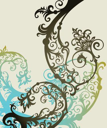 art nouveau frame: ornament In flower style Illustration