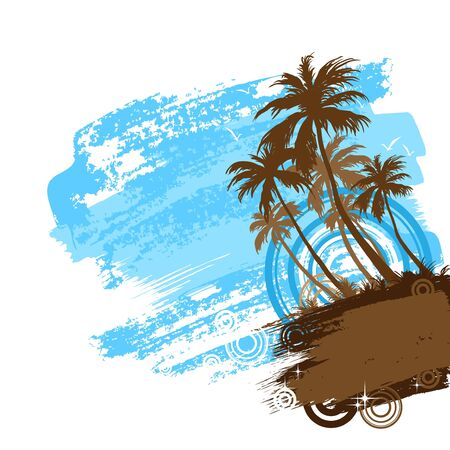 lagoon: Tropical beach with palm trees Illustration