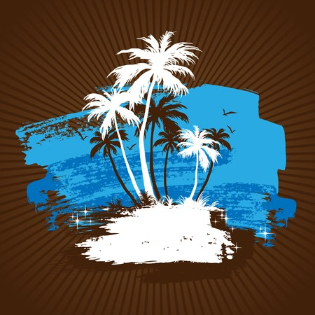 Tropical beach with palm trees Vector