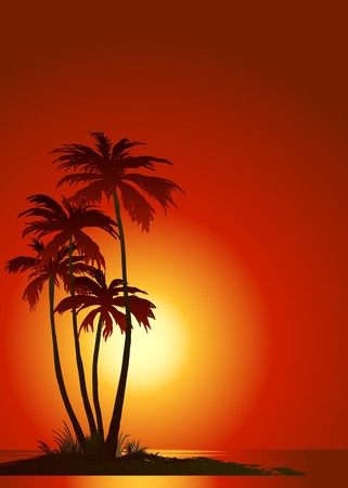 Tropical beach with palm trees Stock Illustratie