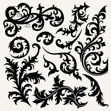 ornament set In flower style Vector