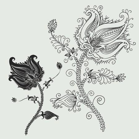 vector ornament In flower style Vektoros illusztráció
