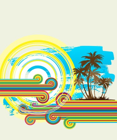 cerulean: Tropical beach with palm trees Illustration