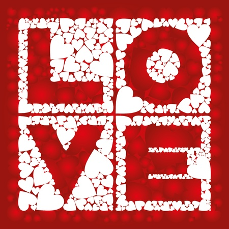 Inscription - love, in the squares with a heart  Vector